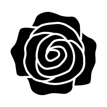 Rose flower or romantic rose flat icon for apps and websites Illustration