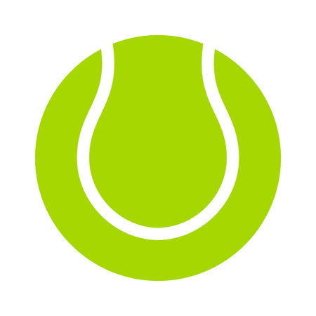 tennisball: Yellow tennis ball flat icon for sports apps and websites Illustration
