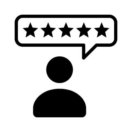 critique: Consumer or customer product rating bubble flat icon for apps and websites