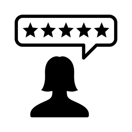 critique: Female consumer or customer product rating flat icon for apps and websites