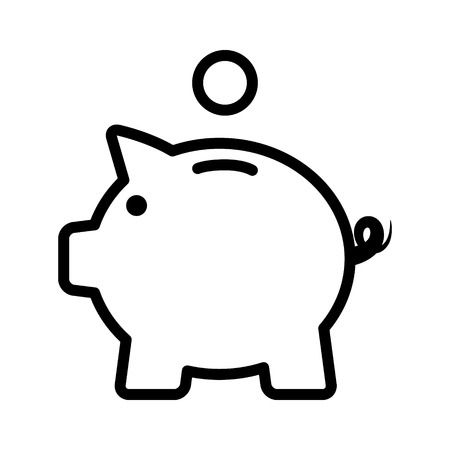 Piggy bank / piggybank with coin line art icon for apps and websites