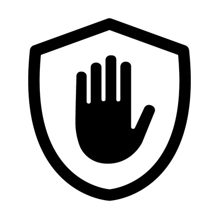 defence: Shield with hand block  adblock line art icon for apps and websites Illustration