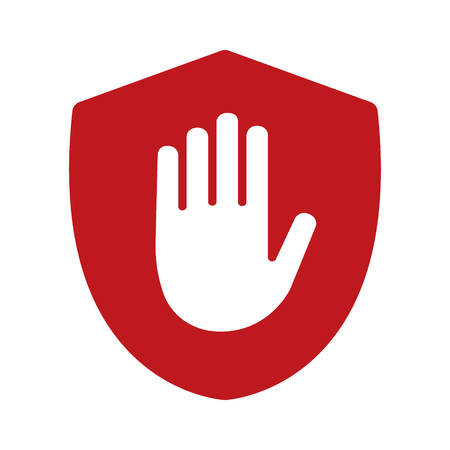 Shield with hand block / adblock flat icon for apps and websites Stock Illustratie
