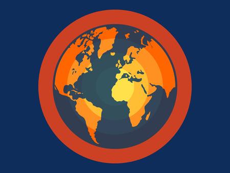 Global warming flat vector illustration for apps and websites Illusztráció