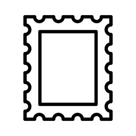 Postage stamp or letter stamp line art icon