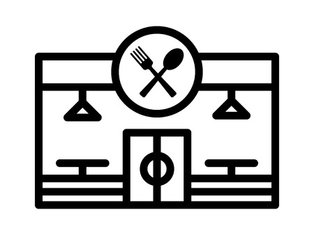 eatery: Restaurant, diner, eatery or bistro line art icon for food apps and websites