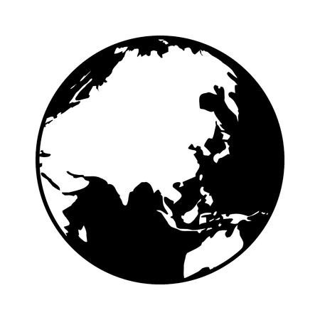 domination: World map globe or planet earth showing Asia flat icon for apps and websites