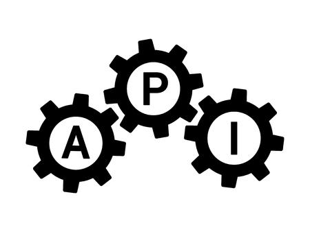 interfaz de programación de API / icono de la aplicación plana para aplicaciones y sitios web Ilustración de vector