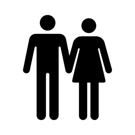 Homme et femme couple droite tenant la main icône plat pour les applications et les sites Web
