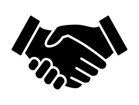 Apretón de manos acuerdo de negocios o de usar línea de apretón de manos de gráficos de iconos de aplicaciones y sitios web Foto de archivo - 55731519