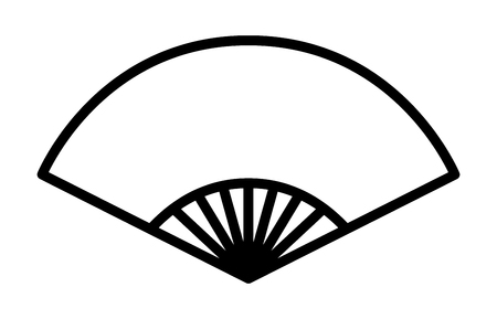 fixed line: Chinese folding fixed fan line art icon for apps and websites