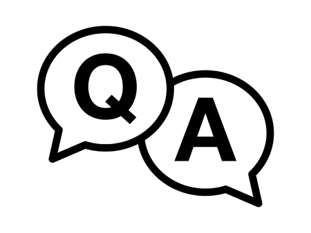 qa: Questions and answers or Q&A speech bubbles Line art icon for apps and websites
