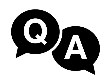qa: Questions and answers or Q&A speech bubbles flat icon for apps and websites