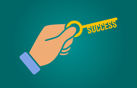 Hand holding key to unlock success flat illustration for websites
