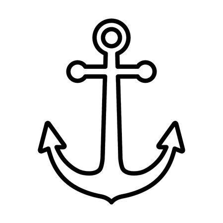 アプリと web サイトのアンカーまたはボートのアンカー ライン アート アイコンを出荷します。