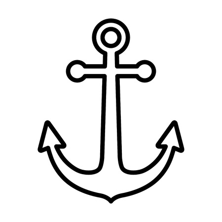 vessel: Ship anchor or boat anchor line art icon for apps and websites