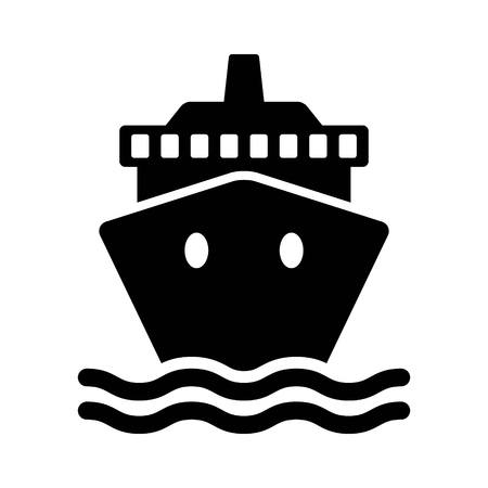 Cruise ship  cargo ship or yacht flat icon for apps and websites Çizim