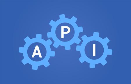 private parts: API  application program interface or platform API flat vector illustration for websites