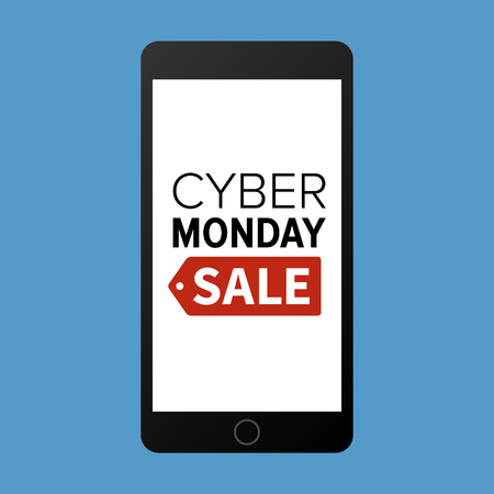 monday: Cyber Monday sale website display on mobile phone vector promotion