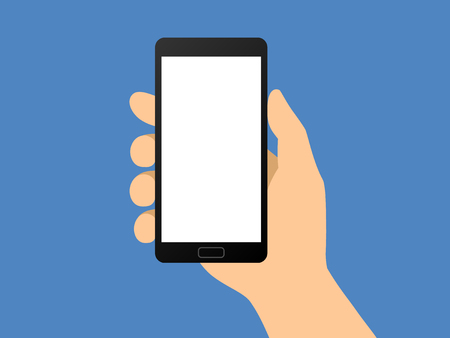 mobile application: Human hand holding smartphone  smart phone flat vector illustration