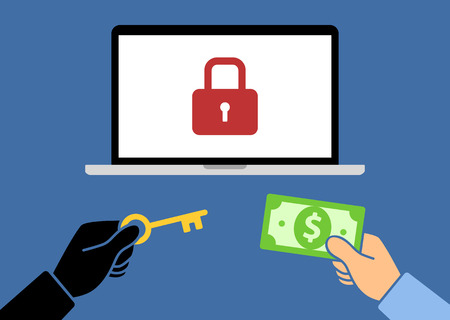 hostage: Locked computer ransomware with hands holding money and key flat vector illustration
