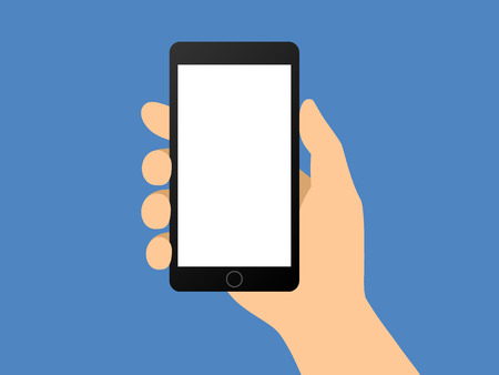 Menselijke hand die smartphone  smartphone flat vector illustratie