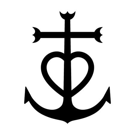 Camargue cross anchored heart symbol flat icon 일러스트
