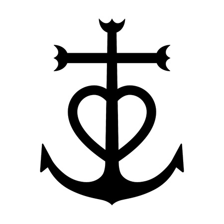 Camargue kruis verankerd hartsymbool flat icoon