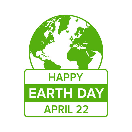 flat earth: Happy Earth Day on April 22 flat icon emblem for apps and websites