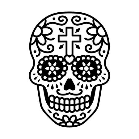 calavera decorada celebrar el Día de los Muertos línea de arte del icono / ilustración