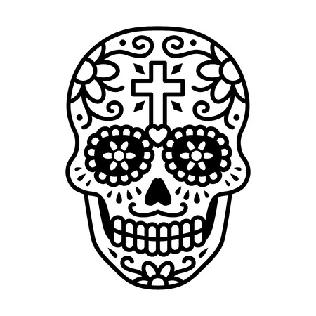 black ancestry: Decorated skull celebrating Day of the Dead line art icon  illustration Illustration
