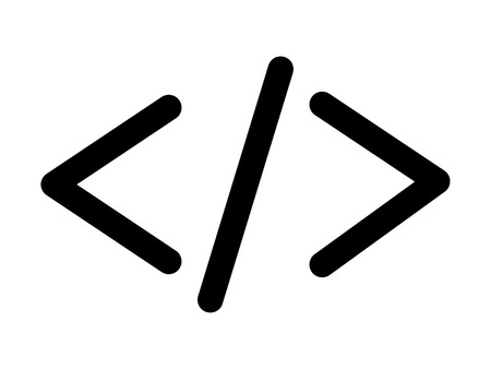 w3c: HTML code angle bracket line art icon for apps and websites Illustration