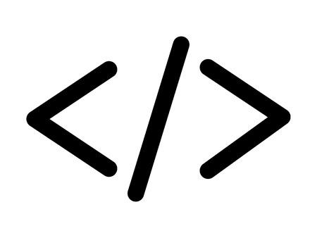 semantics: HTML code angle bracket line art icon for apps and websites Illustration