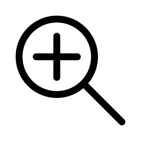 Zoom in magnify glass line art icon for apps and websites