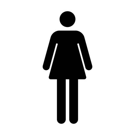 여성 또는 여성의 욕실  응용 프로그램 및 웹 사이트에 대한 평면 아이콘에 서명 resroom