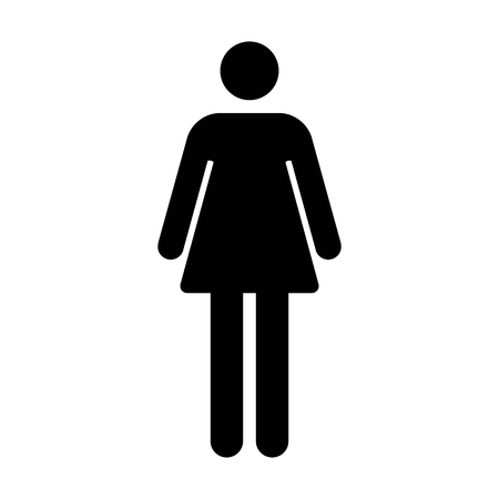 figure: Female or womens bathroom  resroom sign flat icon for apps and websites