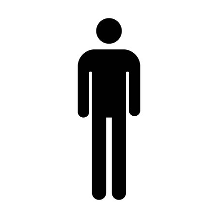 Male or men's bathroom / restroom sign flat icon for apps and websites Çizim
