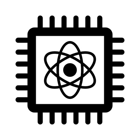 bit: Quantum computer chip flat icon for apps and websites