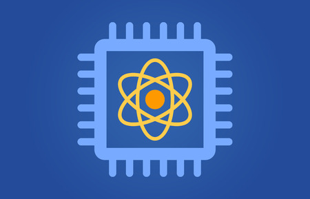 Quantum computer chip flat illustration for websites