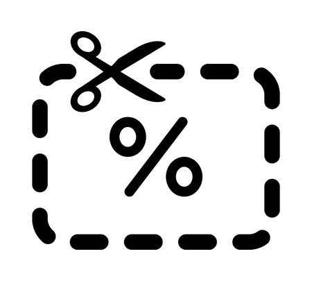 Scissors cutting coupon with percent sign line art icon for apps and websites
