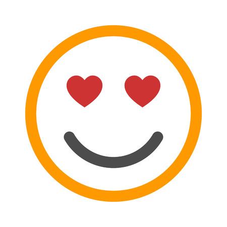 cara sonriente en línea del icono del amor del arte del color para aplicaciones y sitios web
