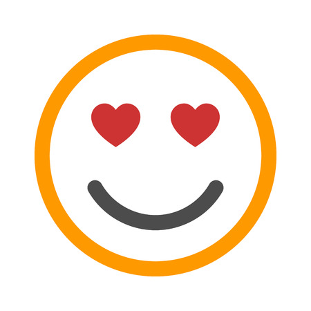 Smiley face in love line art color icon for apps and websites Illustration
