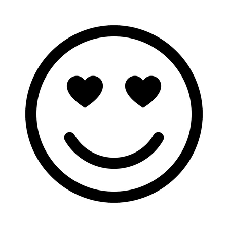 lovestruck: Smiley face in love line art icon for apps and websites