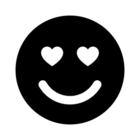 lust: Smiley face in love flat icon for apps and websites