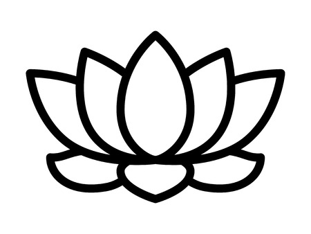 Lotus flower blossom line art icon for apps and websites