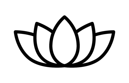 lotus leaf: Lotus flower blossom line art icon for apps and websites