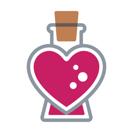 Pink color Love / seduction potion flat icon for apps and websites Illustration