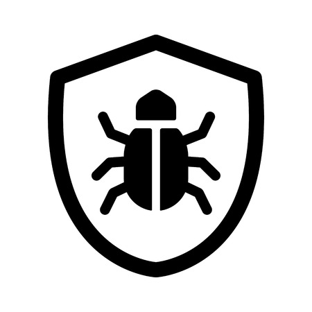 malicious software: Antivirus protection  virus shield line art icon for apps and websites