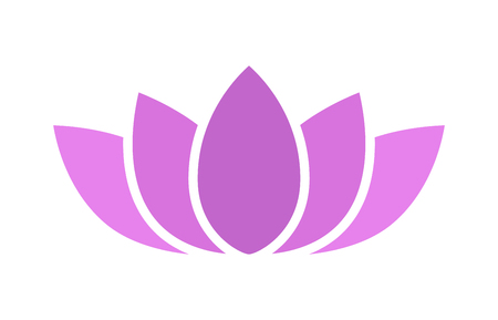 Purple lotus flower blossom flat icon for apps and websites
