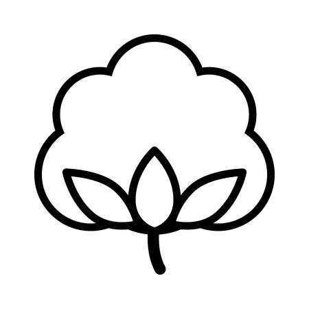 cotton crop: Cotton boll  flower line art icon for apps and websites